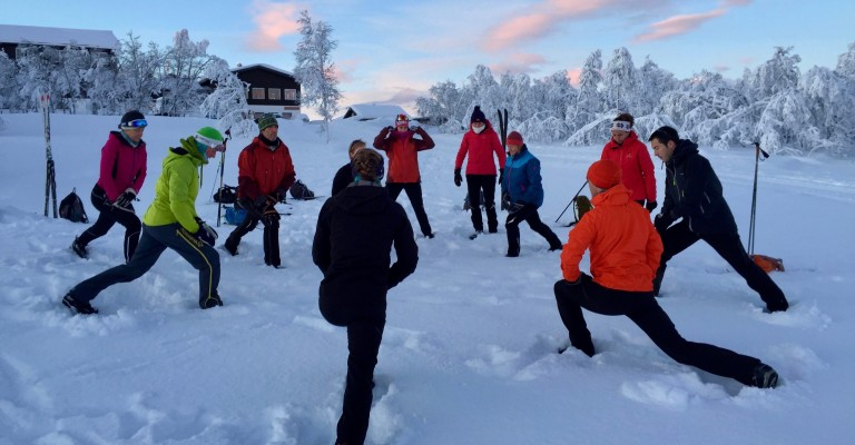 Morning warm up exercises to get those muscles moving. A vital part of preparing for your day on skis.