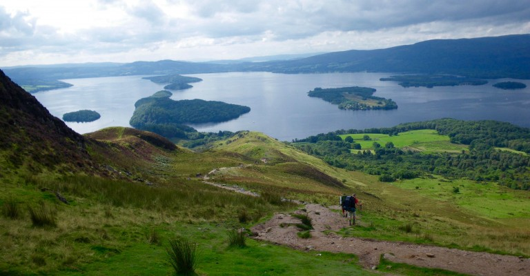 Descending from Conic Hill by Loch Lomond
