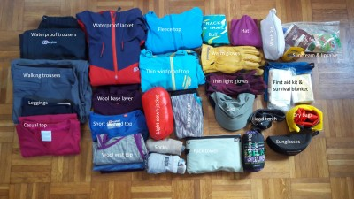 Clothing for a multiday hike or run - or 'fast pack'