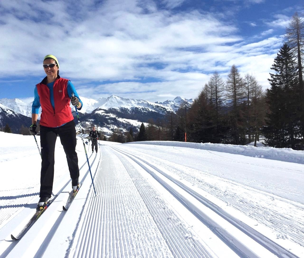 Perfect snow conditions for cross-country skiing. The ski tracks are 'pressed' each day by grooming machines creating a smooth surface.